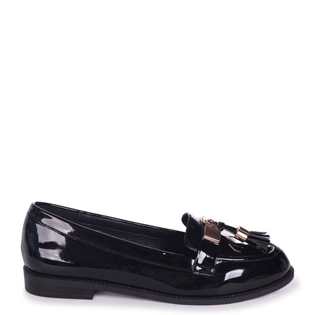 MIAMI - Black Nappa Slip On Slider With Square Toe