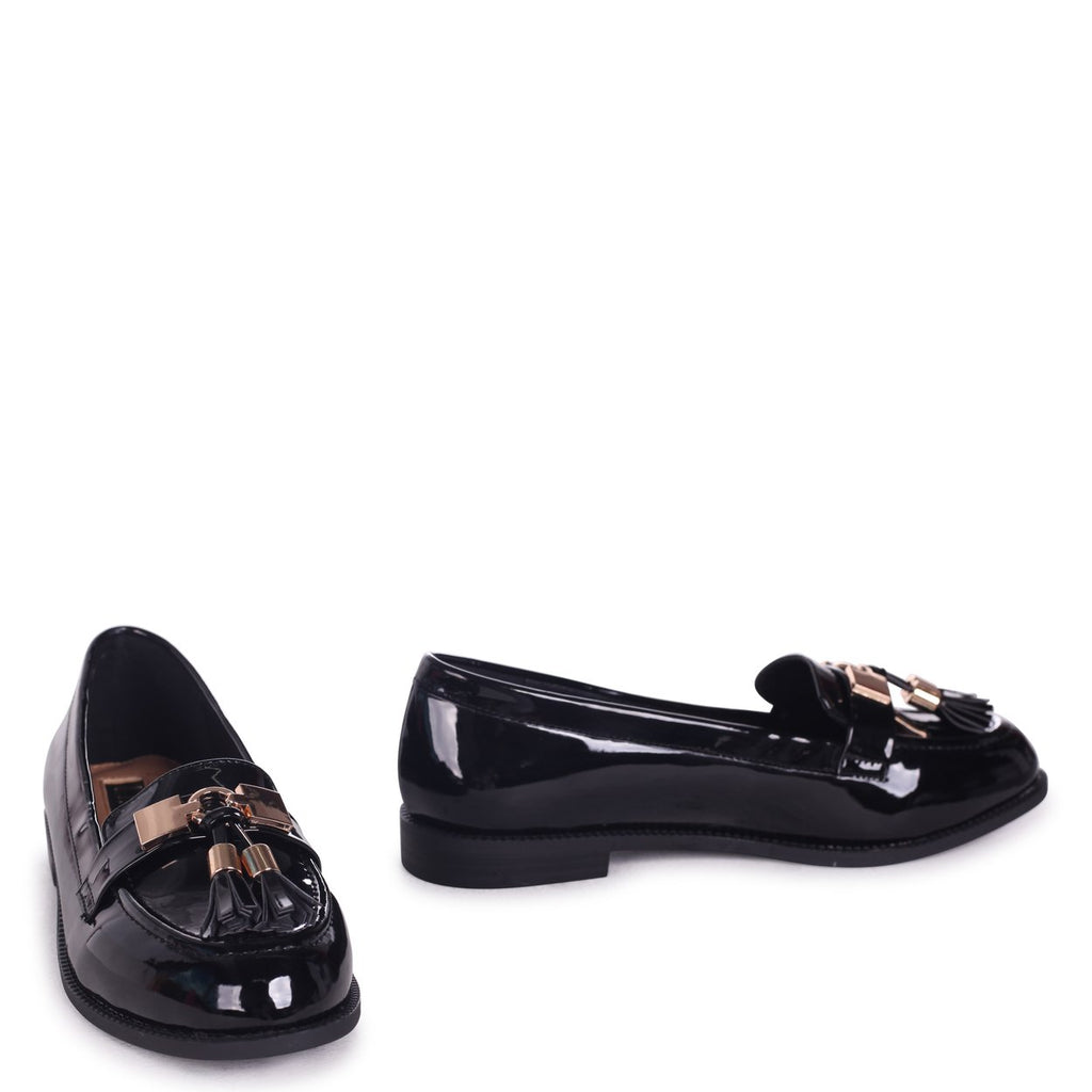 TONIA - Black Patent Classic Loafer with Gold Bar & Tassel Detail