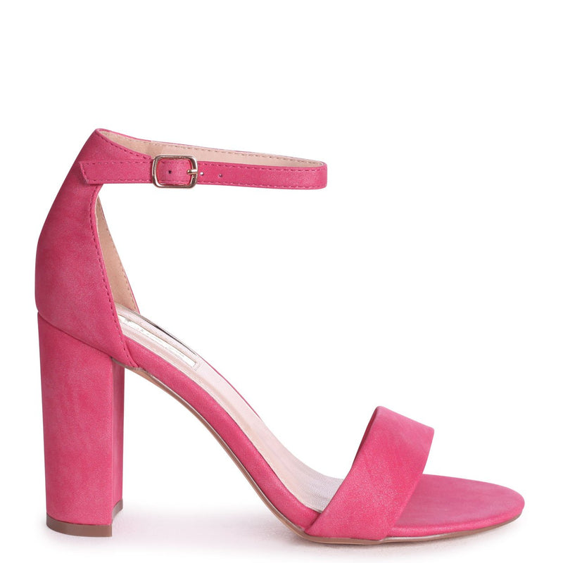 COLLY - Fuchsia Glitter Nubuck Single Sole Block Heel