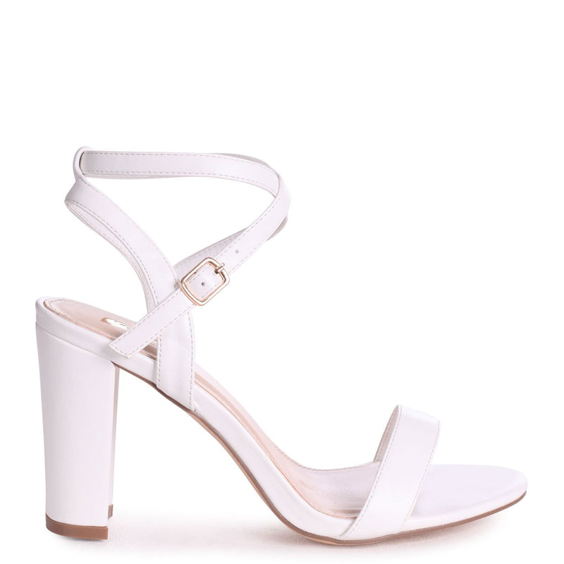 TRUE LOVE - White Nappa Block Heeled Sandal With Crossover Ankle Strap