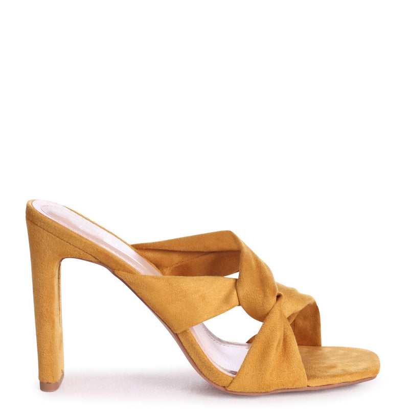 GOTTA HAVE - Yellow Suede Mule With Knotted Front Strap And Thin Heel