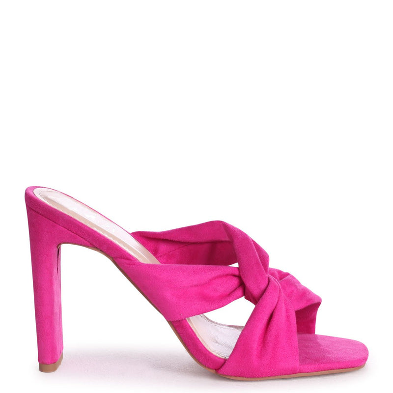 GOTTA HAVE - Hot Pink Suede Mule With Knotted Front Strap And Thin Heel