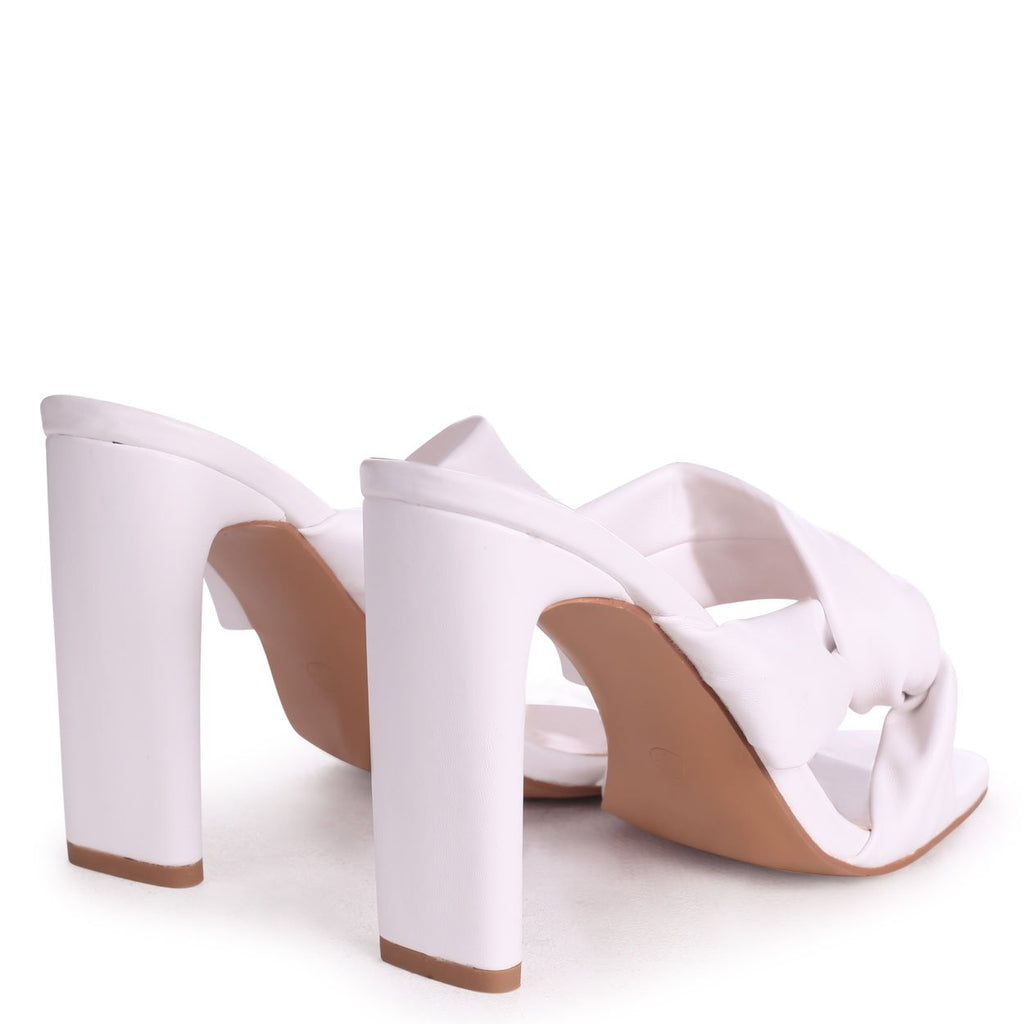 GOTTA HAVE - White Nappa Mule With Knotted Front Strap And Thin Heel