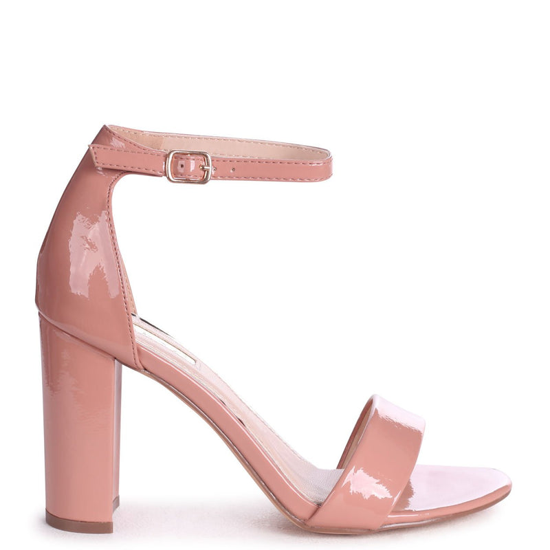 DAZE - Peach Patent Barely There Block High Heel