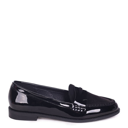 ROSETTA - Black Croc Slip On Loafer With Gold Bar Front Detail
