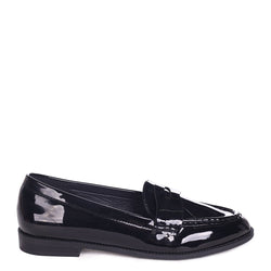 LATASHA - Black Patent Classic Slip On Loafer