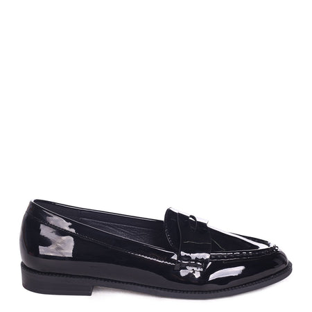 LOLITA - Black Wrinkle Patent Chunky Loafer With Front Chain Detail