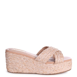 PORTIA - All Over Raffia Slip On Mule Wedge With Crossover Front Strap
