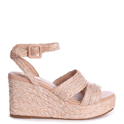 HONOUR - All Over Raffia Wedge With Double Front Strap