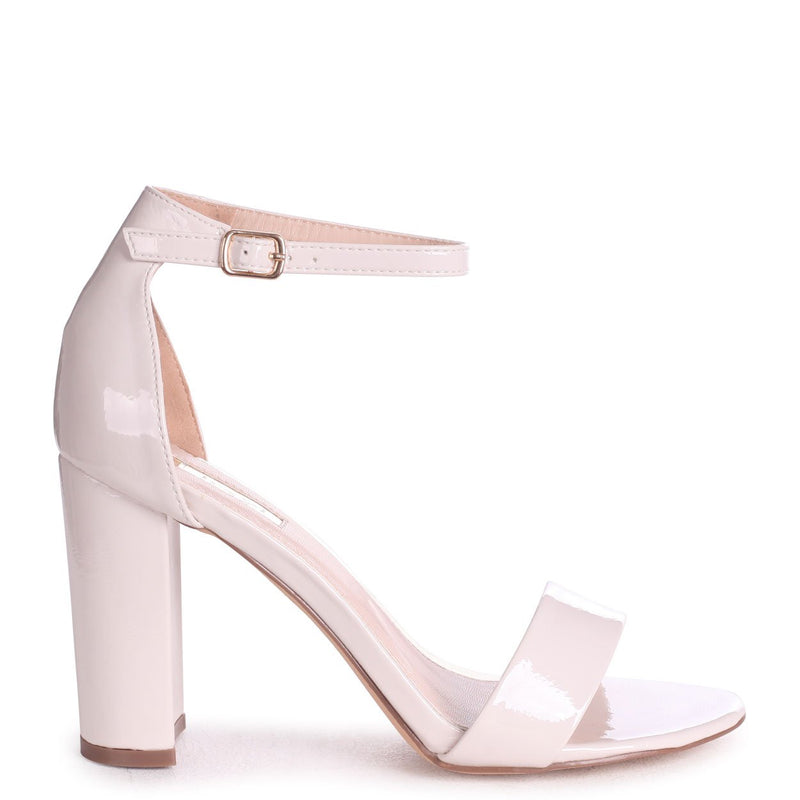 DAZE - Cream Patent Barely There Block High Heel