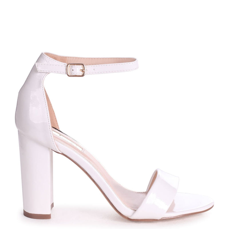 DAZE - White Patent Barely There Block High Heel
