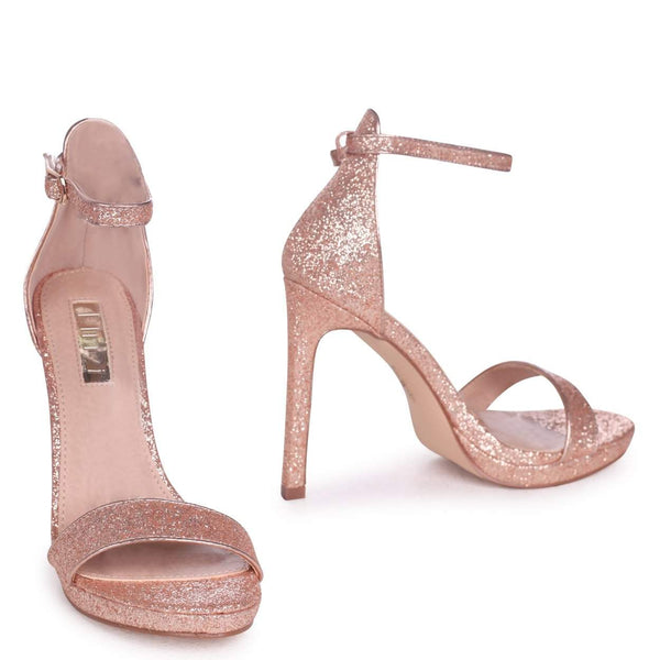 GABRIELLA - Rose Gold Glitter Barely There Stiletto Heel With Slight Platform