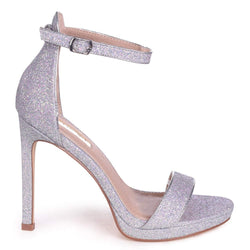 GABRIELLA - Silver Glitter Barely There Stiletto Heel With Slight Platform