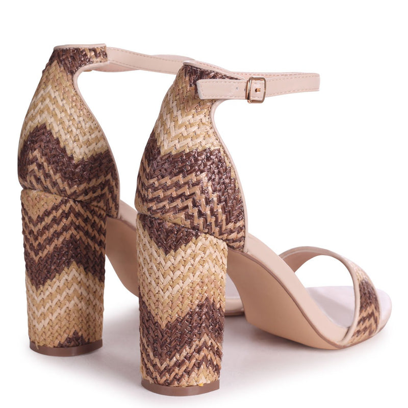 ANGEL DELIGHT - Beige Nappa & Brown Aztec Design Barely There Block High Heel