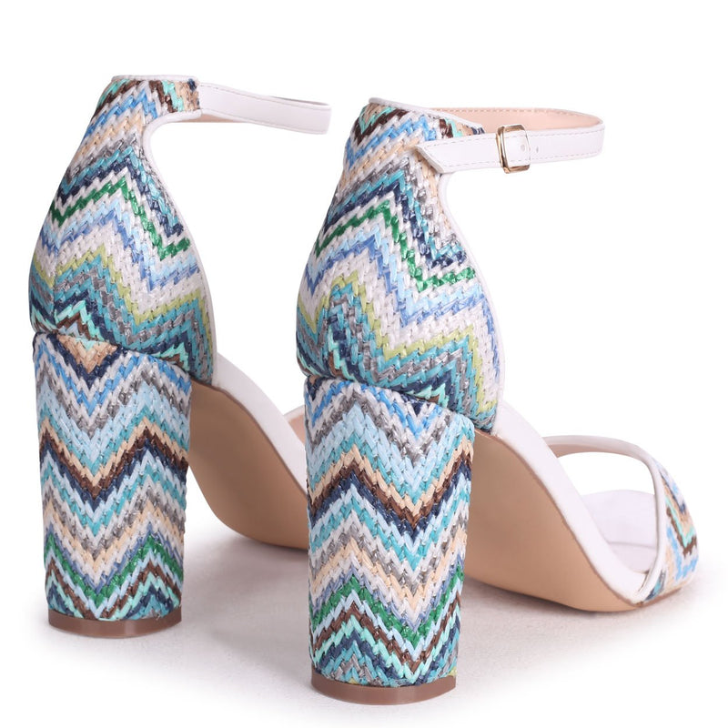 ANGEL DELIGHT - White Nappa & Aztec Design Barely There Block High Heel