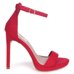 GABRIELLA - Red Suede Barely There Stiletto Heel With Slight Platform