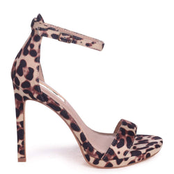 GABRIELLA - Natural Leopard Suede Barely There Stiletto Heel With Slight Platform