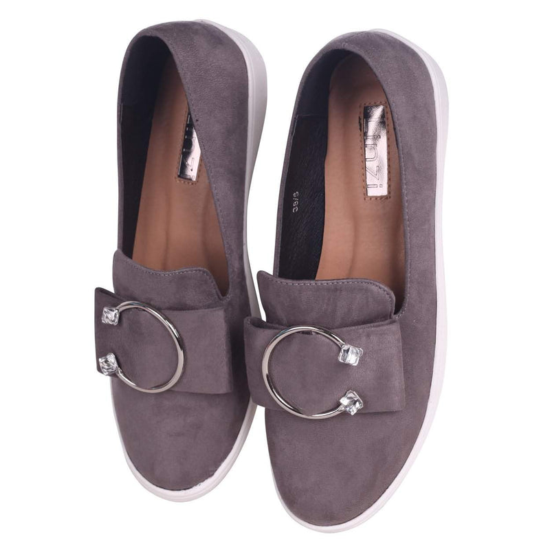 MELINA - Grey Suede Slip On Skater with Horseshoe Bar and Stone Detail