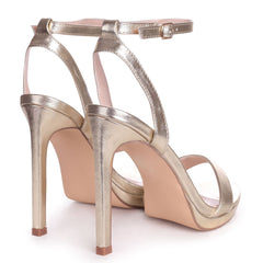 HIGHER LOVE - Gold Open Back Barely There Stiletto Sandal