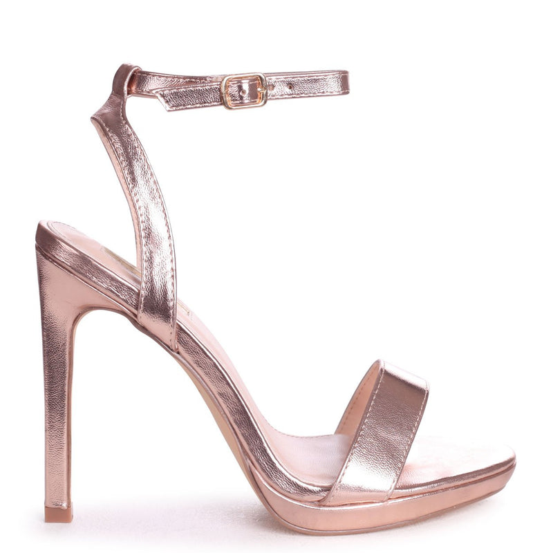 HIGHER LOVE - Rose Gold Open Back Barely There Stiletto Sandal
