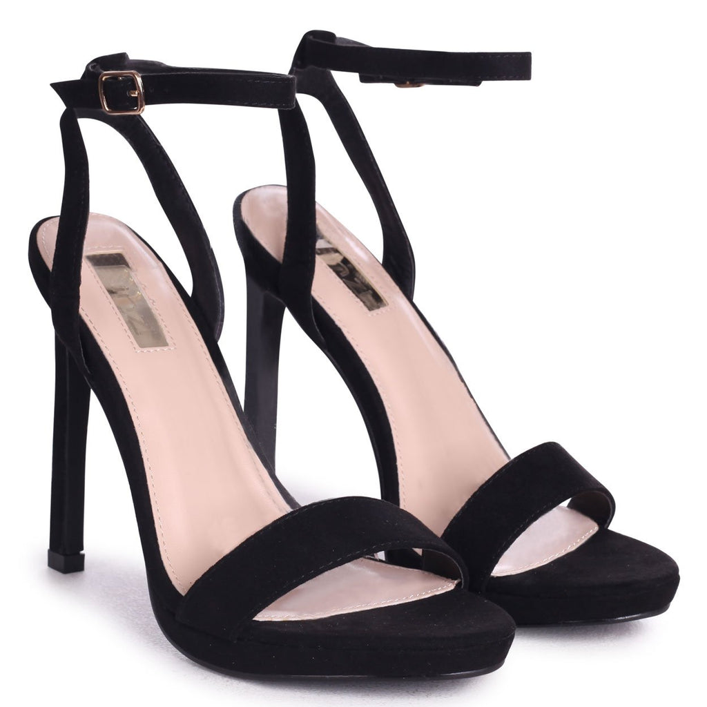 HIGHER LOVE - Black Suede Open Back Barely There Stiletto Sandal