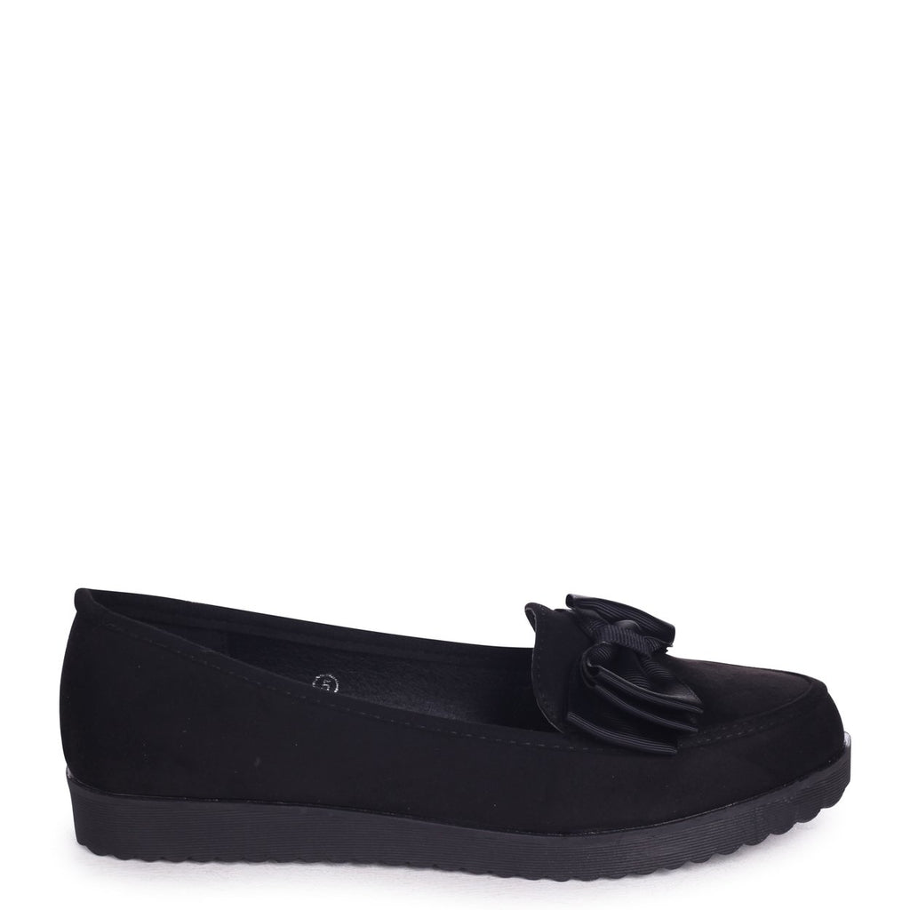 CARRI - Black Suede Chunky Slip On Shoe with Fabric Bow