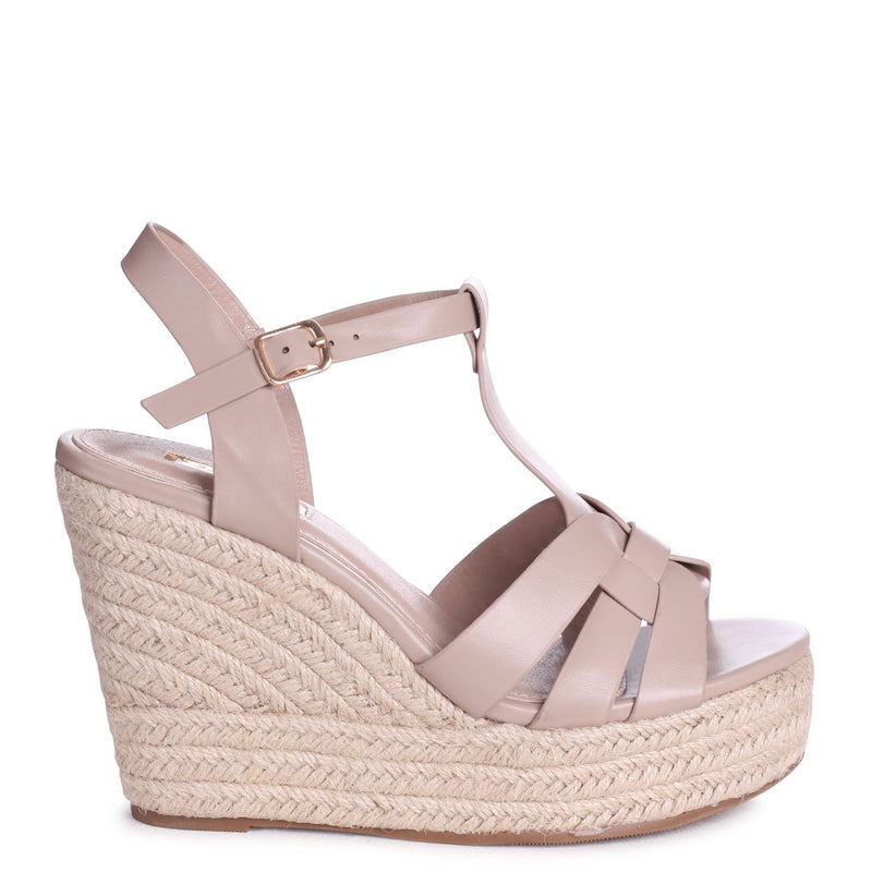REEVA - Taupe Nappa T Bar Design Rope Wedge