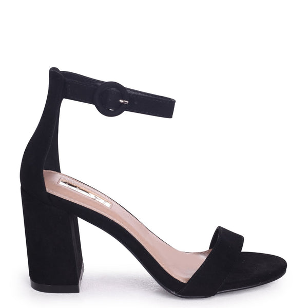 6415973b1d SESAME - Black Suede Barely There Block Heeled Sandal