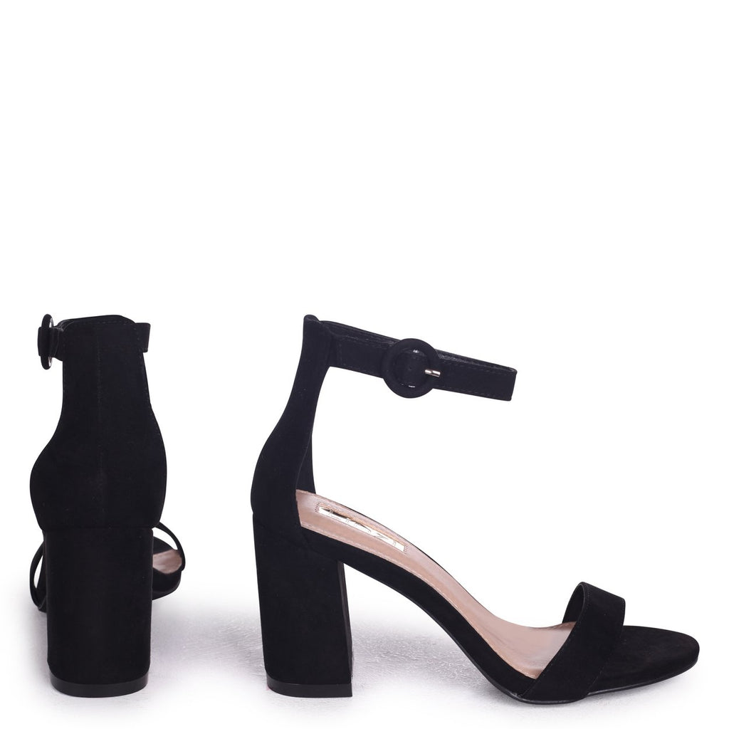 673a13d2cd4 SESAME - Black Suede Barely There Block Heeled Sandal – AX Paris