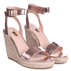 MARS - Rose Gold Rope Platform Wedge With Wavey Front Strap