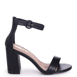 SESAME - Black Nappa Barely There Block Heeled Sandal
