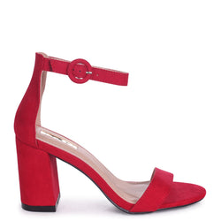 SESAME - Red Suede Barely There Block Heeled Sandal