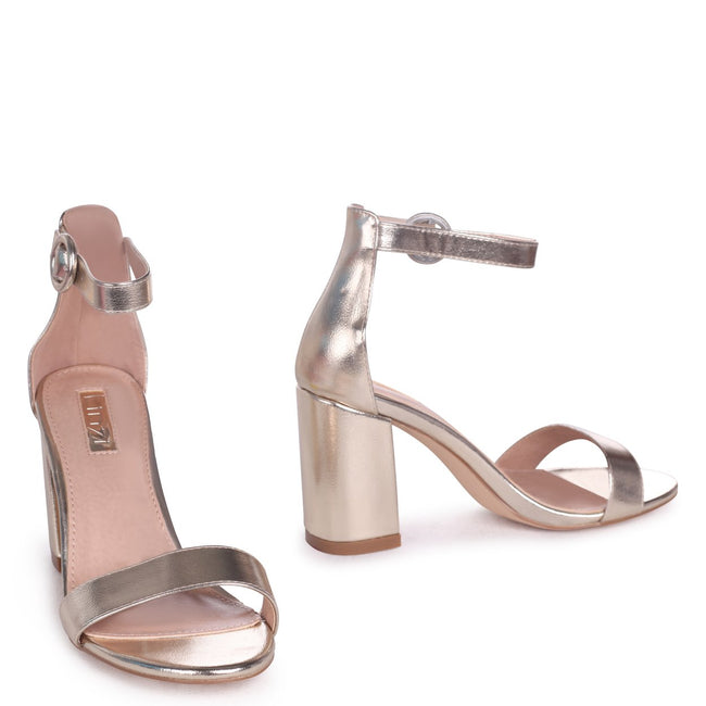 SESAME - Gold Metallic Barely There Block Heeled Sandal