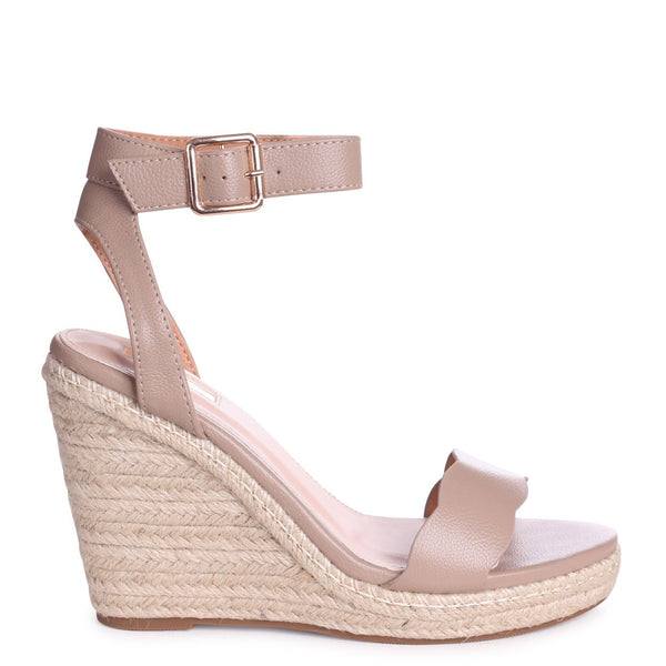MARS - Taupe Nappa Rope Platform Wedge With Wavey Front Strap