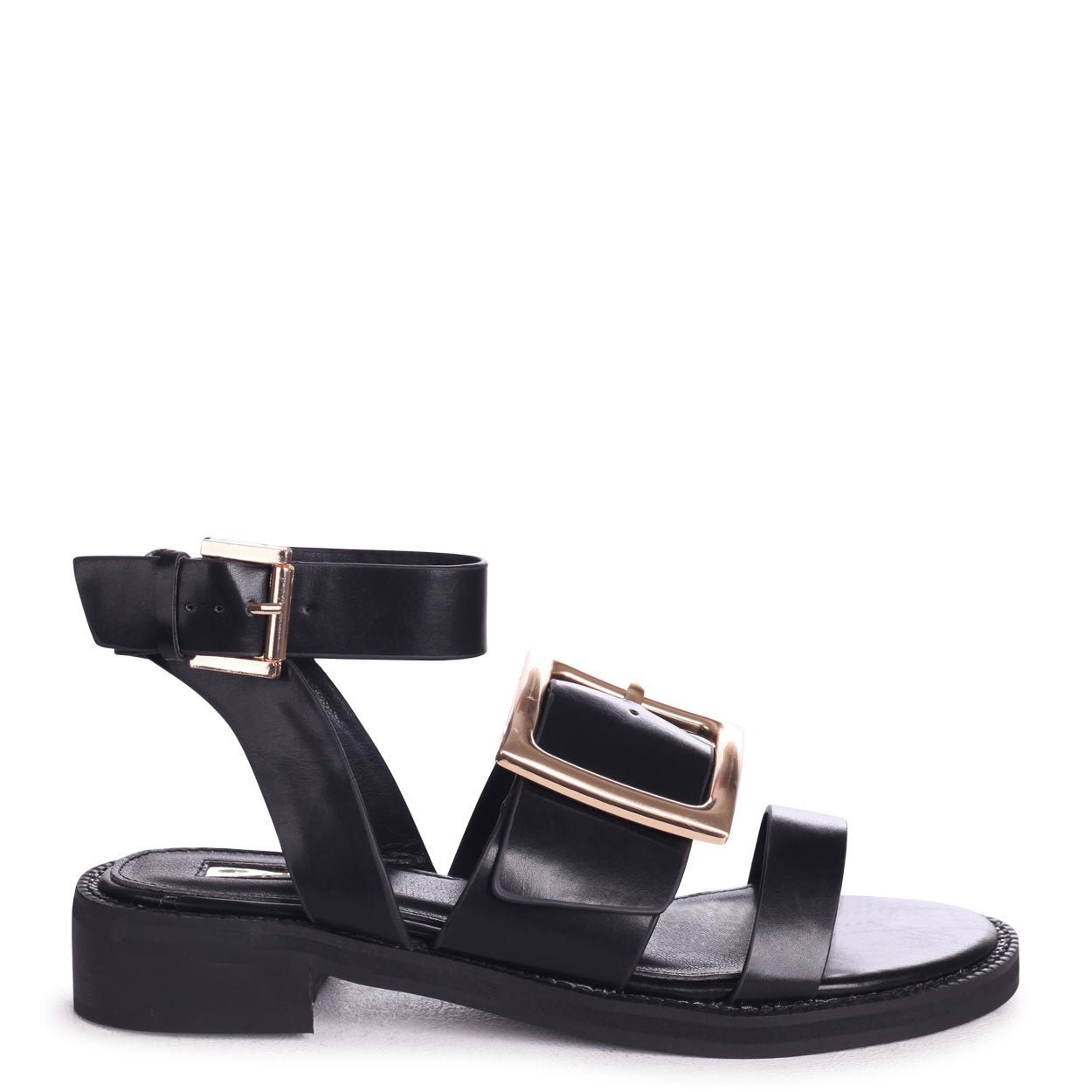 TRIUMPH - Black Nappa Two Part Sandal With Giant Buckle Detail