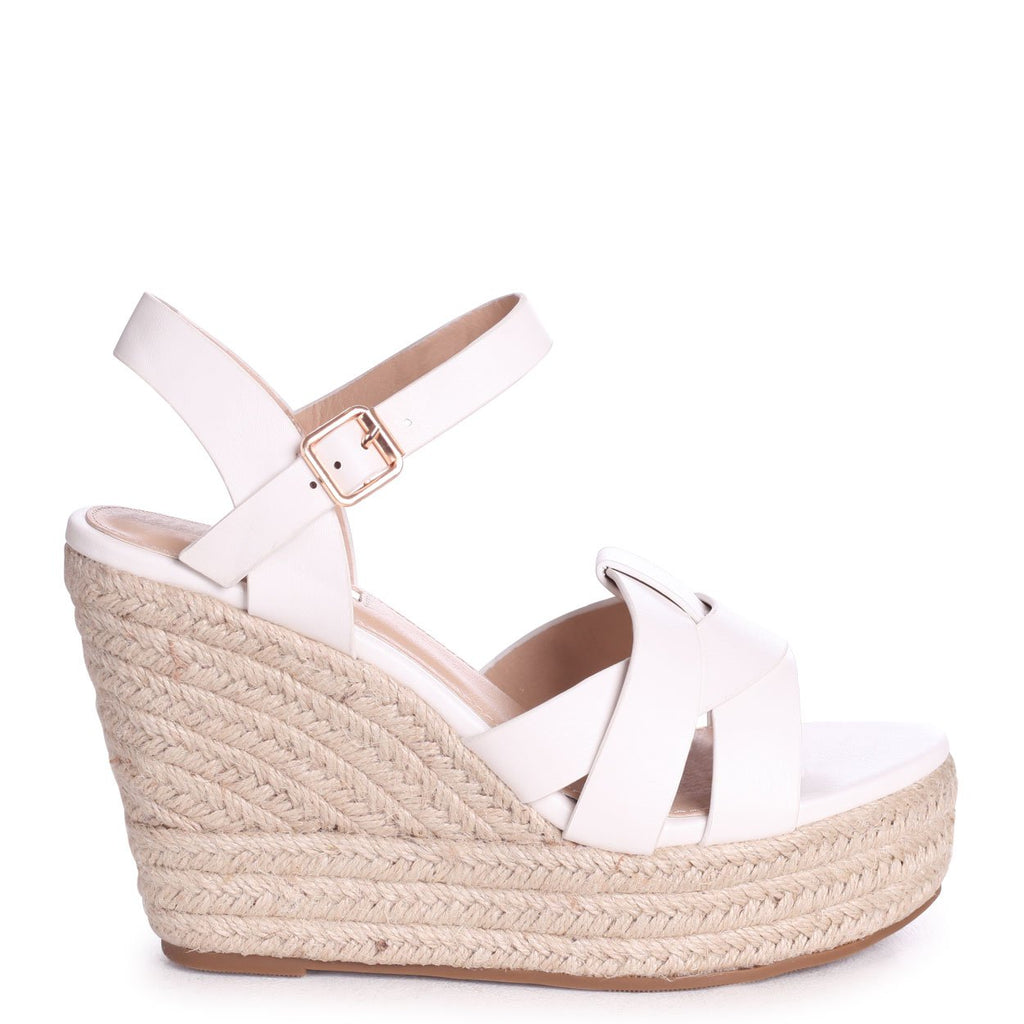 QUEENIE - White Nappa Rope Wedge