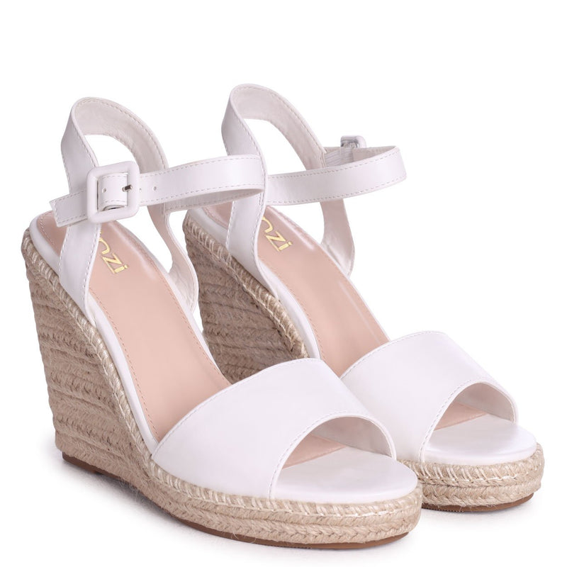 DORI - White Nappa Barely There Wedge