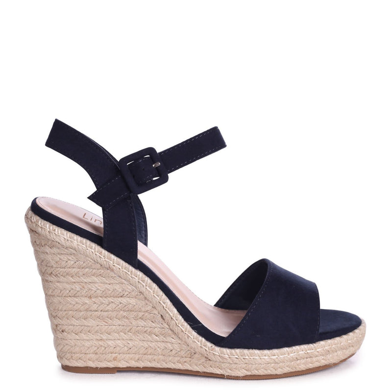 DORI - Navy Suede Barely There Wedge