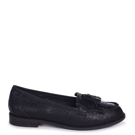 ROSEMARY - Navy Croc Faux Leather Classic Slip On Loafer