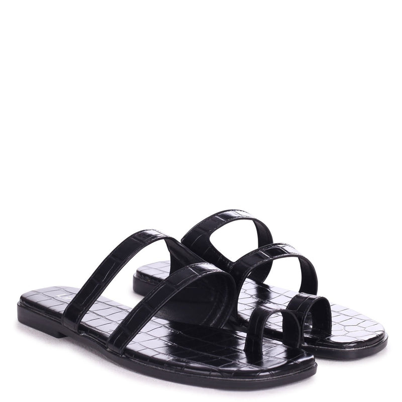 PRISCILLA - Black Croc Slip On Slider With Double Front Strap & Toe Loop