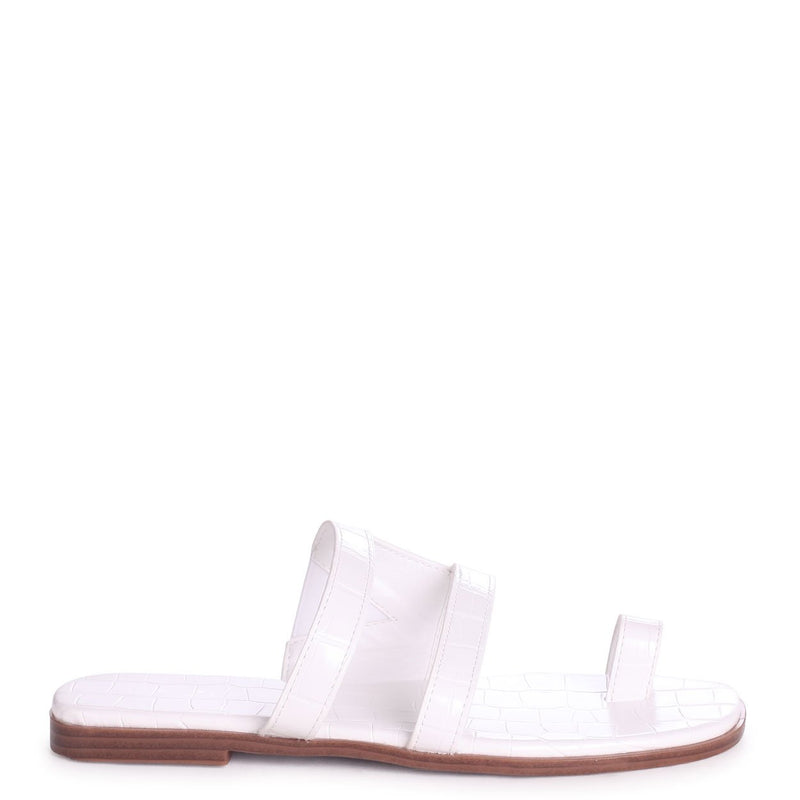 PRISCILLA - White Croc Slip On Slider With Double Front Strap & Toe Loop