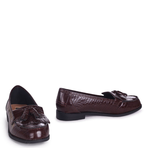 ROSEMARY - Coffee Croc Faux Leather Classic Slip On Loafer