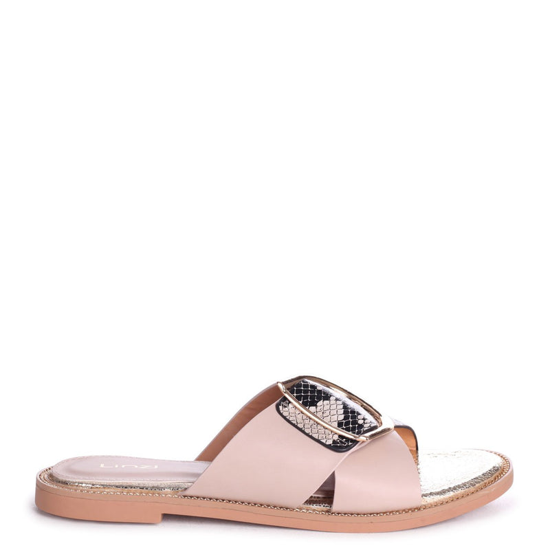 VEGAS - Nude & Snake Crossover Slip On Slider With Giant Buckle Detail