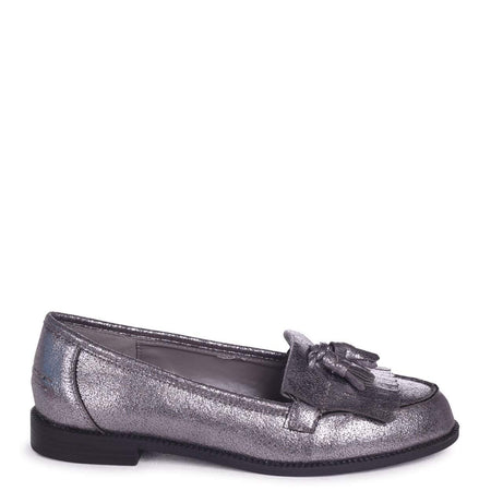 ROSEMARY - Black Croc Patent Leather Classic Slip On Loafer