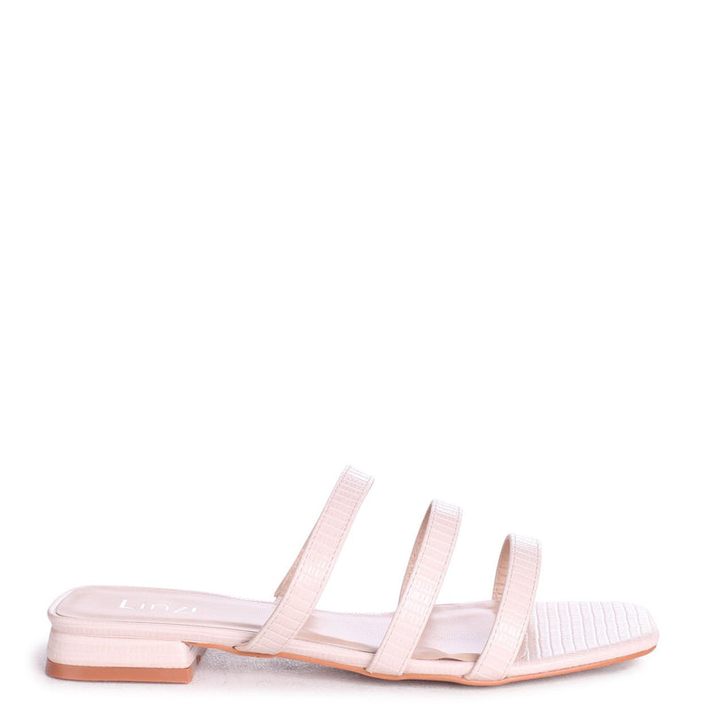 CITY - Ivory Lizard Slip On Mule With Triple Front Strap