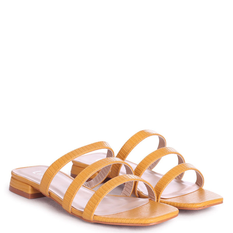 CITY - Yellow Lizard Slip On Mule With Triple Front Strap