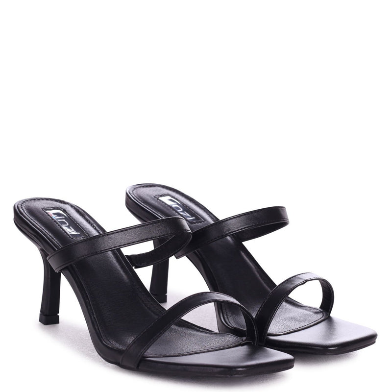 RUNWAY - Black Nappa Square Toe Mule With Double Front Strap