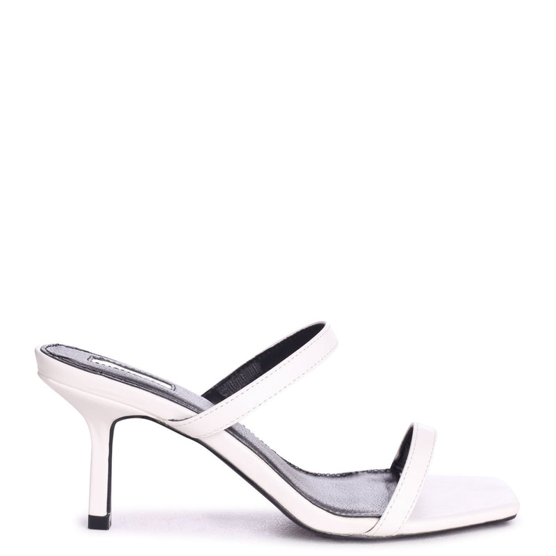 RUNWAY - White Nappa Square Toe Mule With Double Front Strap