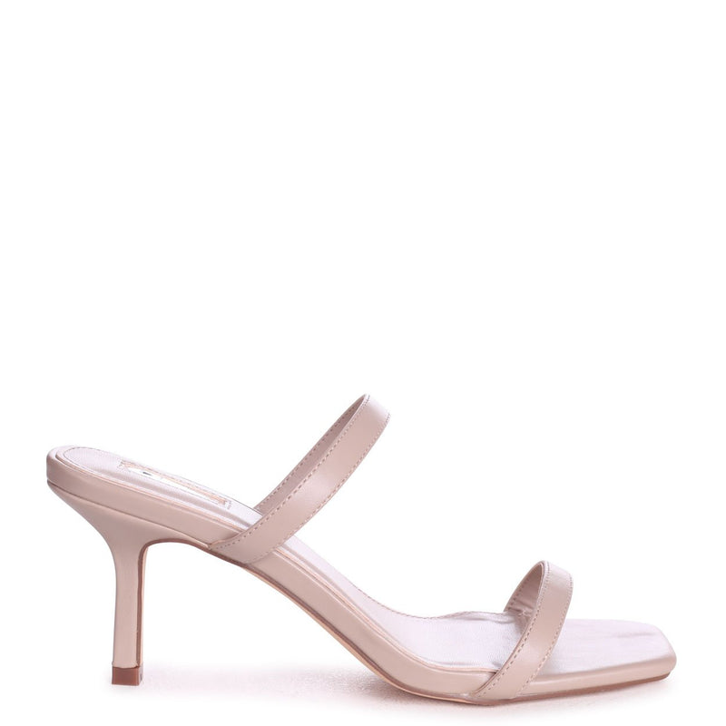 RUNWAY - Taupe Nappa Square Toe Mule With Double Front Strap