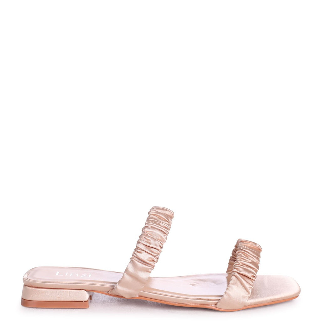 LIZZIE - Champagne Satin Slip On Mule With Double Gathered Front Straps